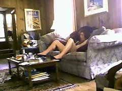 Mom masturbates in living room