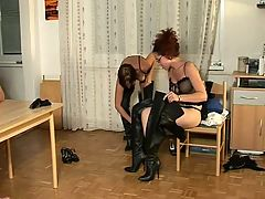 German fetish group fuck in Thigh Boots!