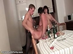 Awesome orgy with many old women gets horny when young