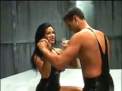 Holly Body Latex and oil wrestling and fuck