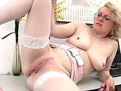 Blonde Mature and Her Dildo Masturbation