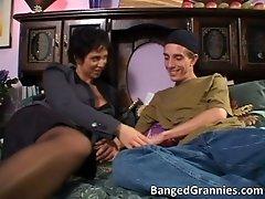 Hot big boobed brunette milf slut sucking big cock nice