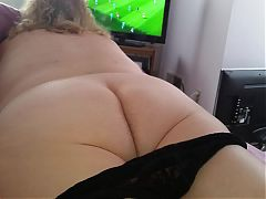 Wifes big white hairy ass in black pantys