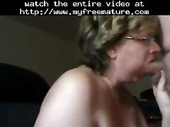 Granny woman sucks dick and gets cum on her tits mature