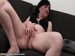 Hot lesbians get horny sucking on their tits and pussie