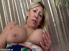 Horny mature whore goes crazy masturbating her wet cunt