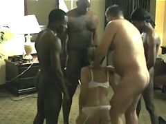 Hubby Coaches Hotwife with a Roomful of Cock PART 02