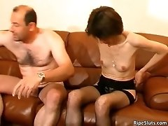 Skinny brunette bitch spreads her legs and gets noisy a