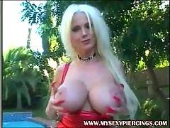 Busty pierced pornstar Lori Pleasure taking black cock in