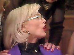 Posh Pierced Granny in Stockings Fucks