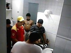 Guys caught fucking a girl in Pub toilet GANGBANG!
