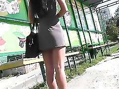 Upskirt Spying at Bus Stop