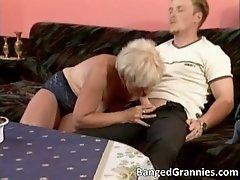 Busty big boobed blonde milf whore give nice head to bi