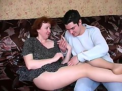 Russian mature mom in pantyhose and her boy! Amateur!