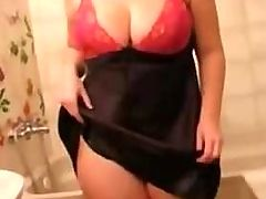 Cute Fat Chubby Ex Girlfriend showering her Tits and Pussy