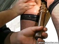 Hot brunette bitch gets bound and spanked 2 by maturesp