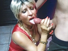 MATURE Makes Handjob and Blowjob