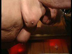Fat grandma fucked in a bar