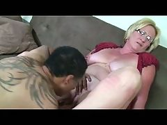 Blonde Granny in Glasses Pussy Licked