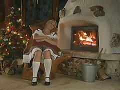 Blonde with Braces and Pigtails Anal from Santa
