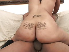 Bubble butt ebony gets to ride a black stud cowgirl style