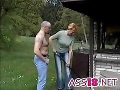 Tall redhead german mature fucked in the grass ass18