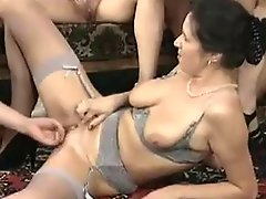 MILFs german orgy in the living room