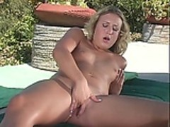 Mature blonde masturbates outsite