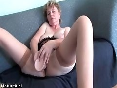 Naughty mature woman loves getting huge dildo in her ex