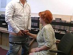 Grandma gives a gummy blowjob