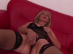 Fit Fifty Four in Fishnets Fucks Phallus Fingered Fisted