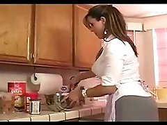 Mature lesbians playing in kitchen