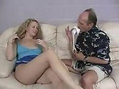Blonde Girl Gets Her Pussy Played With Stroking Old Cock