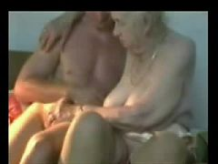 Very old granny used by younger man Amateur older