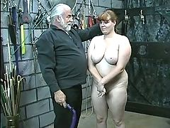 Young brunette thick slave girl is stripped naked for humiliation play