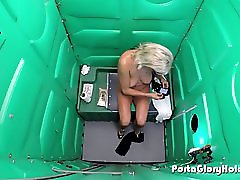 Mature blonde sucks cocks in porta potty gloryhole