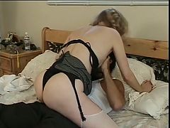 Blonde MILF in sexy black lingerie gets fucked