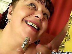 Busty mature plumper POV threesome