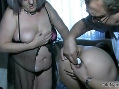 Dirty old woman goes crazy licking a pussy by oldnannie