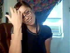 Busty Nerdy Webcam Girl Masturbates