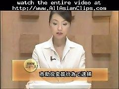 Beautiful japanese newscaster gets several facisls asia