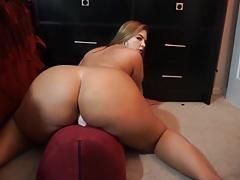 Sexy milf with big ass rides dildo