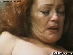 Longhaired granny enjoys sex