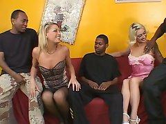 2 blonde hotties take on black cocks