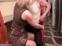 Nasty blonde whore gets horny jerking and sucking on a