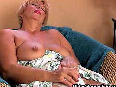Chunky grandma masturbates with her fingers and a vibrator