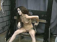 Long haired brunette with perky small tits gets a hiding from old dude