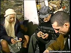 Homeless blonde double fucked