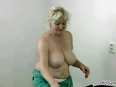 Big tits horny grandma loves dancing naked by oldnannie