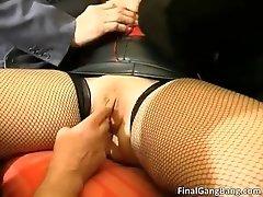 Busty big boobed old milf slut sucking cocks and gets b